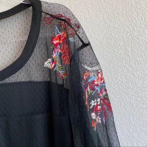 torrid Tops - Torrid Mesh Floral Bell Sleeve Plus Size Women's